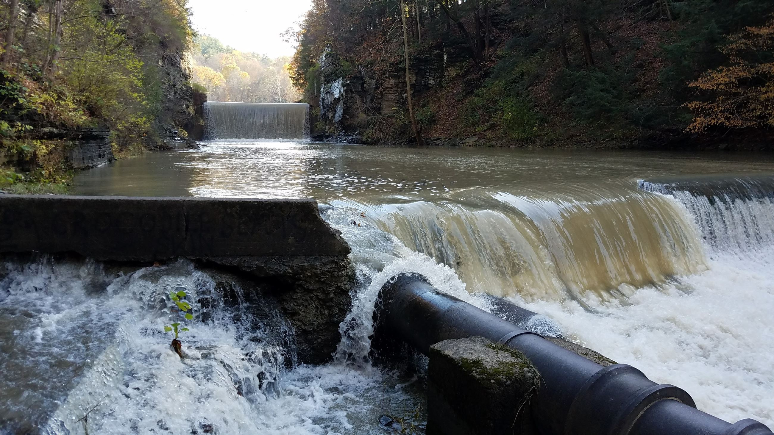 Runoff event below 30ft dam on Six Mile Creek